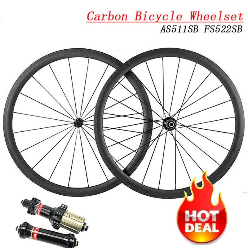 Ultra Light Carbon Bicycle Wheelset AS511SB FS522SB Hub 23/25 Width 38mm 50mm 60mm 88mm Depth Clincher Tubular Road Bike Wheels