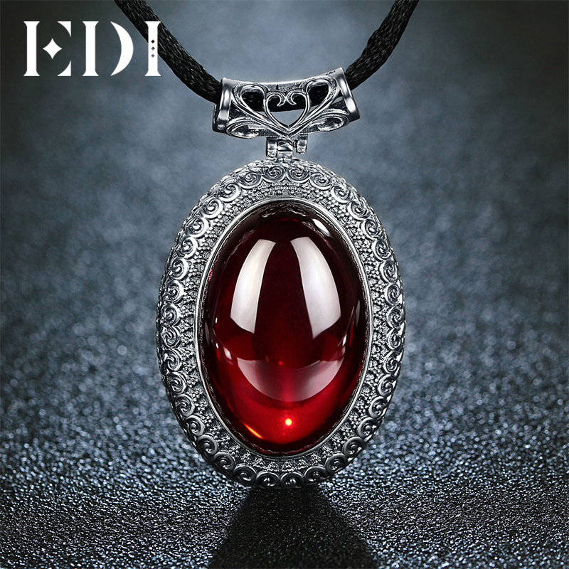 EDI 100% 925 Sterling Silver Vintage Round Chalcedony Pendants Necklace for Women Fine Necklaces Jewelry процессор amd am4 a8 9600 box 3 1 ггц 2мб