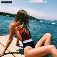 INGAGA Plunging Sexy One Piece Swimsuit 2018 New Open Back Swimwear Women Patchwork Summer Beach Bathing