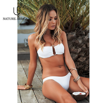 Off Shoulder Bikini 2018 Sexy Deep V Brazilian Bikini Solid Swimming Suit for Women Bathing Suit Two Piece Swimsuit Swimwear