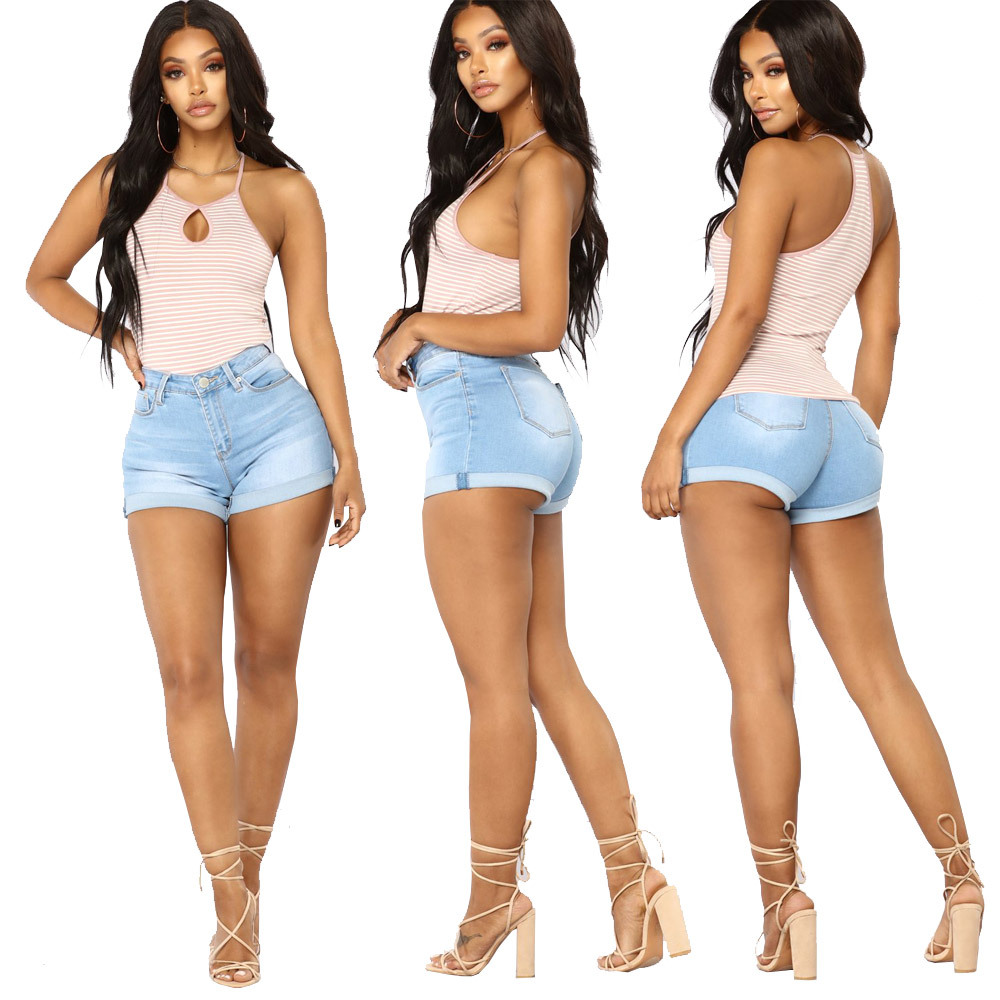 Women's Jeans Shorts Pants Stretch High-Waist Solid-Color Sexy Denim Fashion Summer New