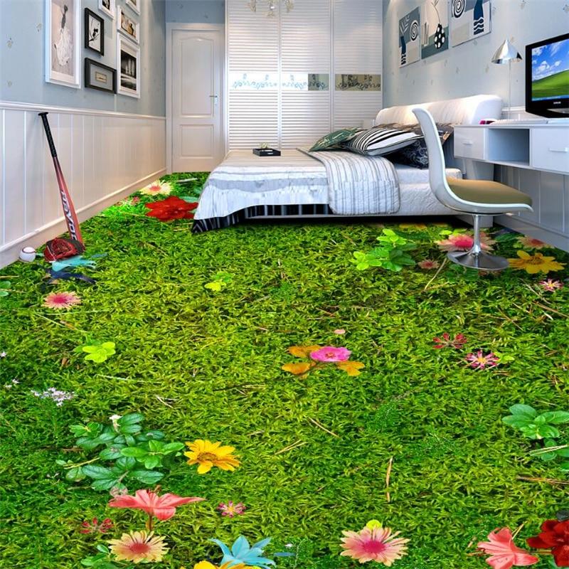 Custom 3d Floor Wallpaper Flowers Road Bathroom Kitchen: Beibehang Custom Large 3D Flooring Wallpaper Flower Grass