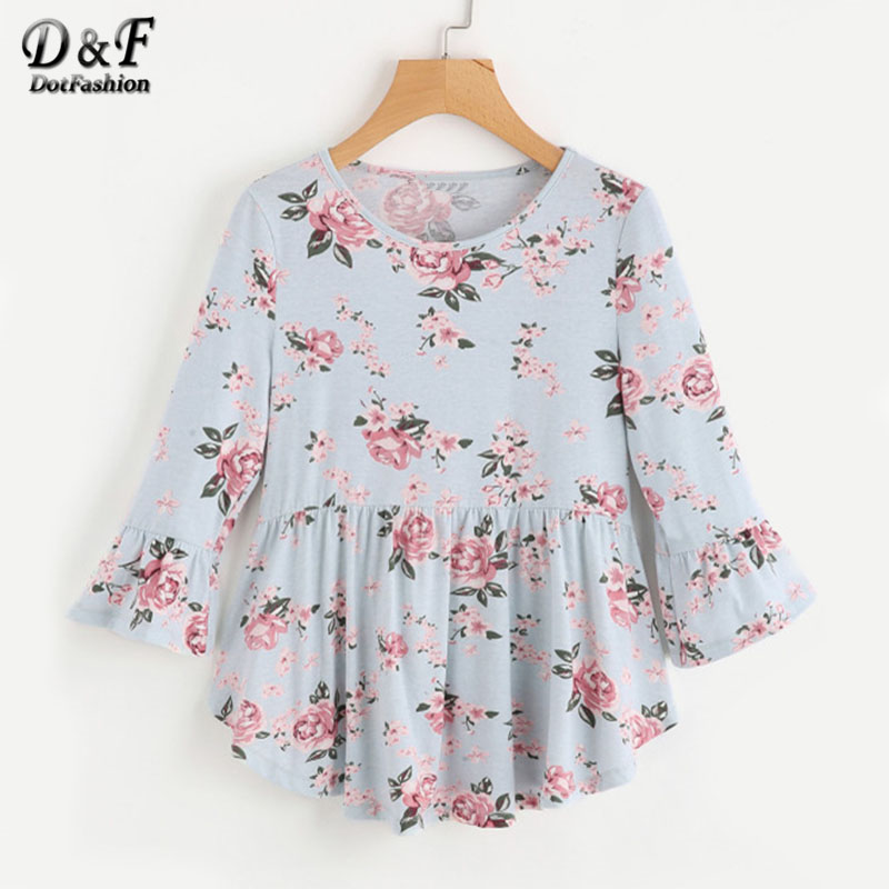Dotfashion Rose Print Ruffle Womens Tee Shirt Top 2017 Women Clothes Blue Floral Tee Round Neck 3/4 Sleeve T Shirt