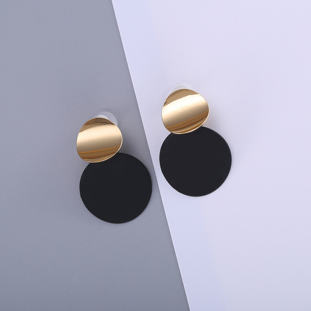 Fashion 2018 Double Circle Round Long Dangle Earrings For Women Gold Alloy Black