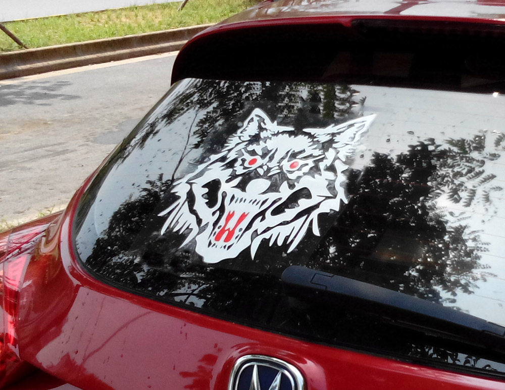 Big size 29CM WOLF Car Styling decal Reflective vinyl sticker for car rear windows door engine cover bonnet tire cover halloween decor sticker 3d transparent car back rear window decal vinyl sticker horror monsters zombie