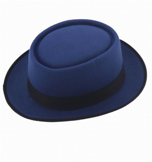 9 цветов, унисекс, женская, мужская шляпа от солнца, фетровая шляпа, свинина, пирог, крушаемая шляпа, ломающаяся Панама, BB шляпа, Уолтер Уайт ХАЙЗЕНБЕРГ, 25 - Цвет: Blue
