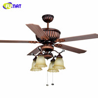 FUMAT Ceiling Fan Lights European Retro Wood Ceiling Fan Light Dining Room Pendant Light Remote Control L1320mm H600mm