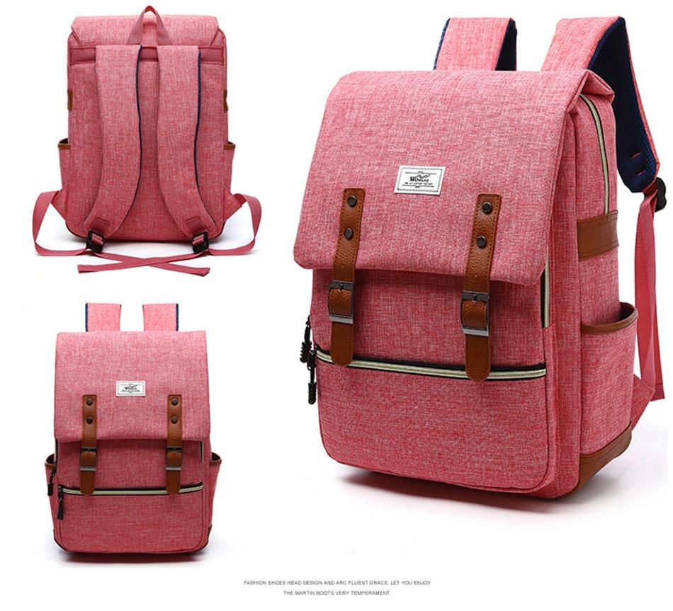2018 Vintage Men Women Canvas Backpacks School Bags for Teenager Boys Girls Laptop Backpack with USB Charging Fashion Travel Bag (15)