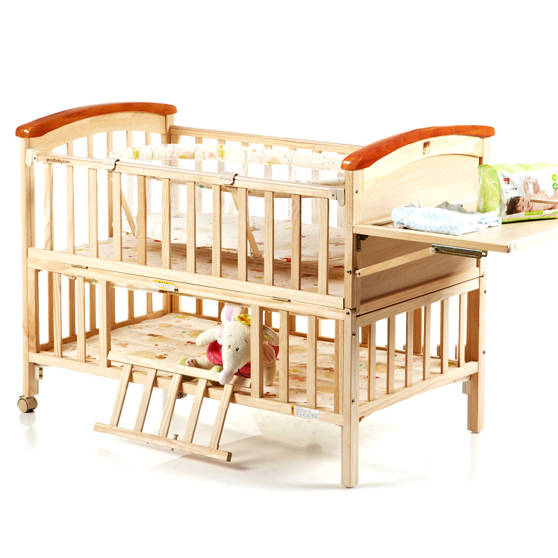 Marvelous High Quality Pine Wood Baby Bed No Paint Environmental Protection Baby Crib  Portable Baby Playpen Crib