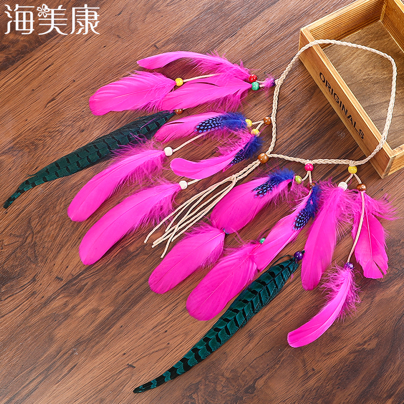 Haimeikang Colored Feather Hairband Short Lady Gypsy Bohemia Beach Party Performance Patchwork Girl Hair Jewelry Headbands ...