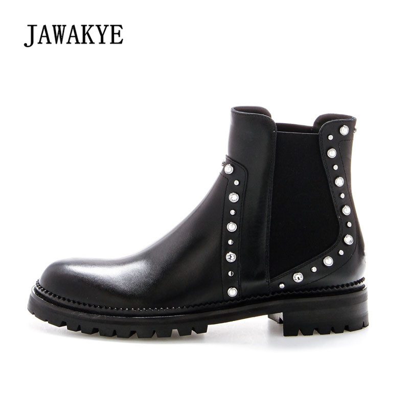 2018 Punk Style Rivet Stud Chelsea Boots Woman Round Toe Real Leather Ankle Boots