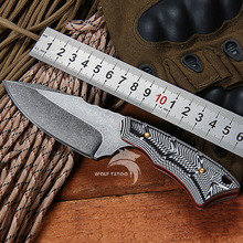 WTT Survival Pocket Knife 440C Blade G10 Handle Titanium Tactical Camping Hunting Fixed Knife Utility Outdoor Combat EDC Tools