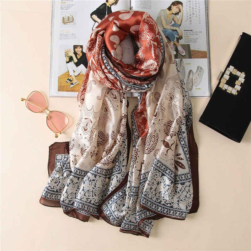 2017 moda mujer 100% pura seda bufanda mujer marca de lujo estampado Paisley Foulard chales y bufandas cubierta de playa SFN163