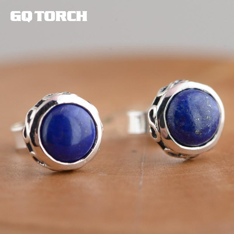 GQTORCH Real Silver 925 Vintage Simple Earrings For Women Inlaid Natural Lapis Lazuli Stone Round Shaped
