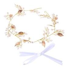 Bridal Leaf Faux Pearl Crystal Tiara Headband Wedding Bridesmaid Prom Party Chic faux pearl gathered chunky knit headband