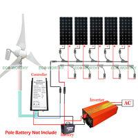 900W Hybrid Wind Kit 5pcs 100W Mono Solar Panel + 400W Wind Generator Home