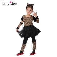 Umorden Girl Animal Wild Little Leopard Costume Short Tutu Dress for Girls Kids Halloween Carnival Party Costumes Disfraz