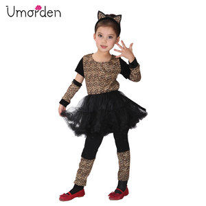 Umorden Girl Animal Wild Little Leopard Costume Short Tutu Dress for Girls Kids Halloween Carnival Party Costumes Disfraz(China)
