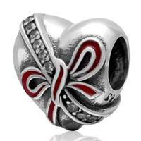 Arc rouge émail authentique perles Fit Pandora Charm Bracelet coeur Charms perles en argent Sterling 925 originale