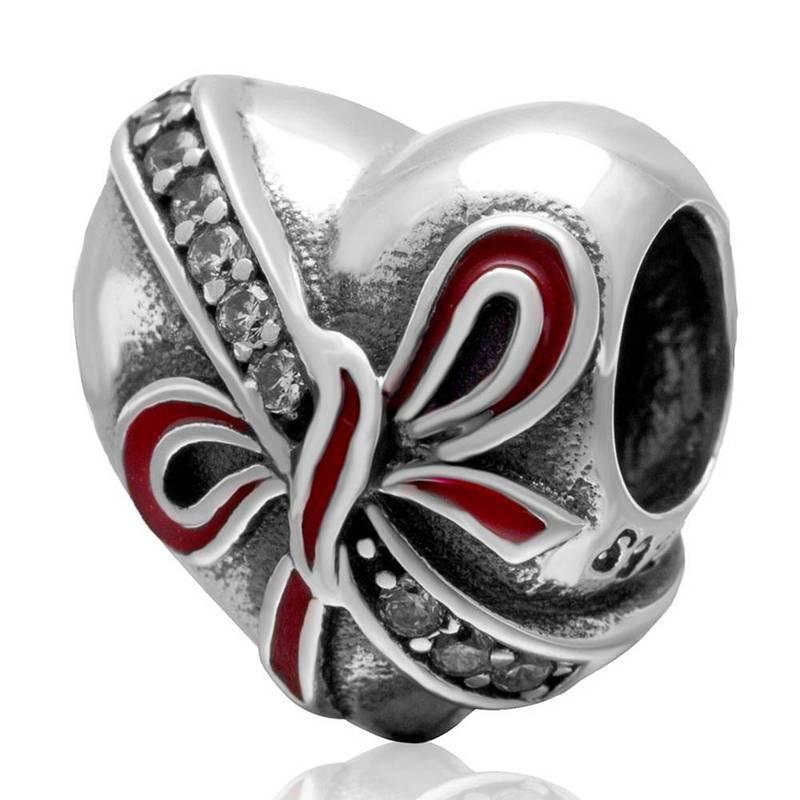 Красный бант эмаль аутентичные бусины подходят пандора браслет шарм в форме сердца прелести серебро бусины 925 оригинал