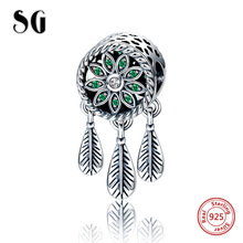 SG 925 Sterling Silver Charms Antique Dream catcher Beads Fit original pandora bracelets fashion Jewelry making for women gifts sg new arrival 925 sterling silver charms dream catcher beads with cz fit pandora bracelets diy jewelry making for women gifts