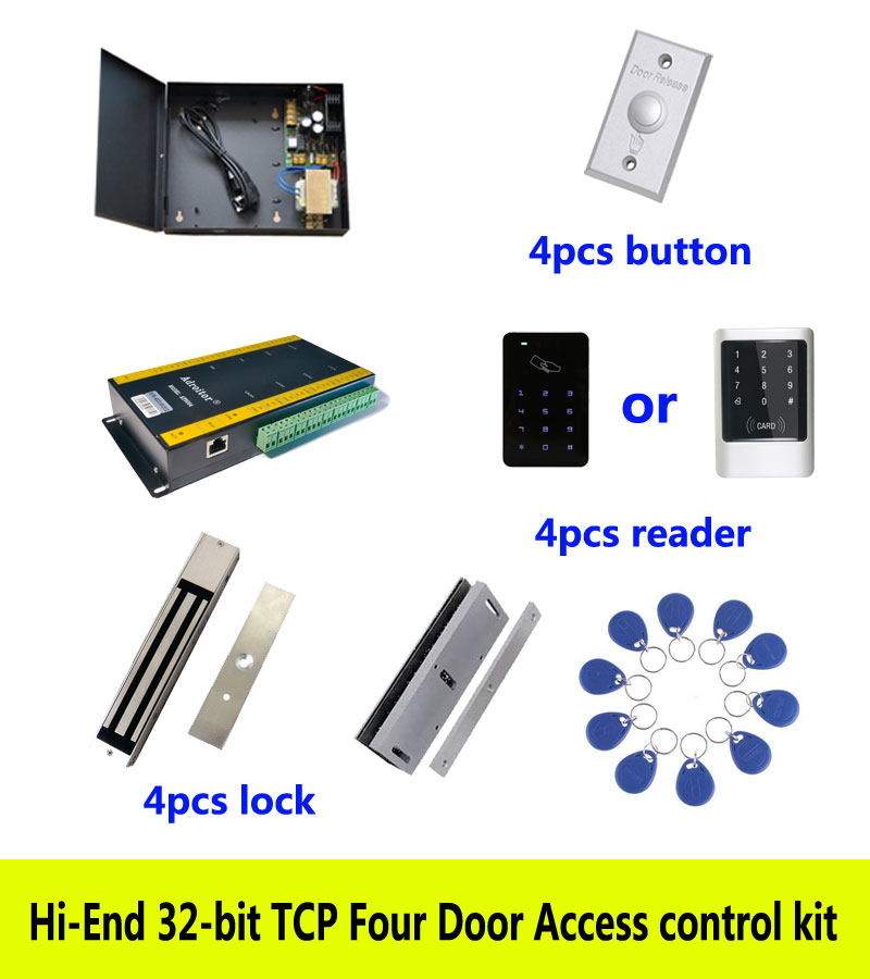 Hi-end access control kit,TCP four door+power+280kg magnetic lock+U-bracket+ID touch keypad reader+button+10 ID tag,sn:kit-AT407 free ship by dhl access control kit one em keypad access control power magnetic lock u bracket button 10 em card sn em 008
