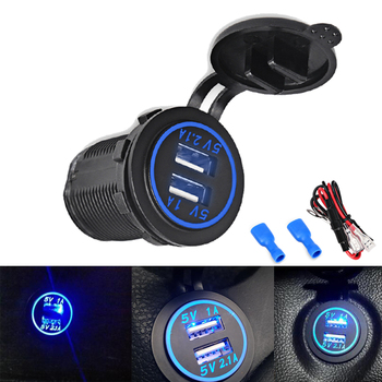 4.1A Auto Cigarette Lighter USB Car Adapter Socket Charger Led Display USB Cigarette Lighter Car Charger Phone For BMW Audi image
