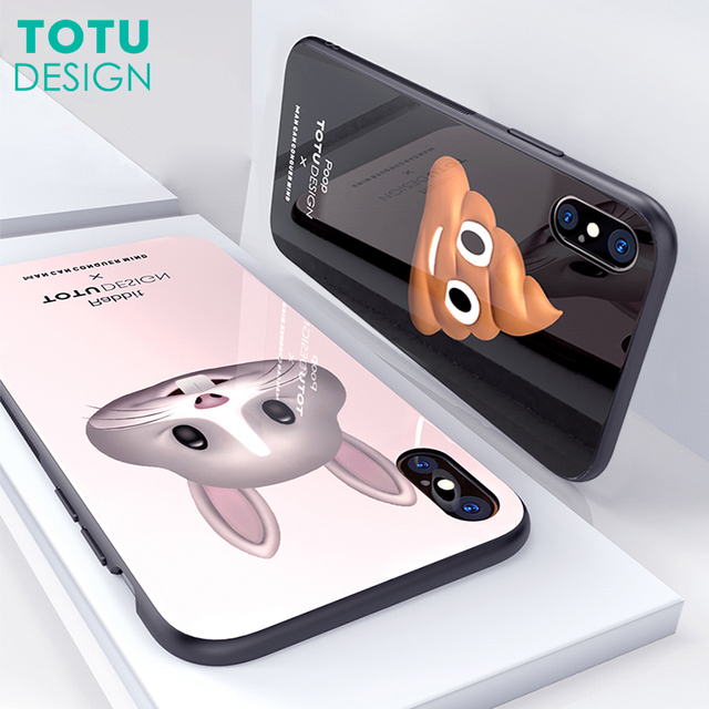 TOTU Luxury Case For iPhone X 10 Coque Glossy Cartoon TPU & Tempered Glass Back Cover For iPhoneX Capinhas With Car Hook Holder
