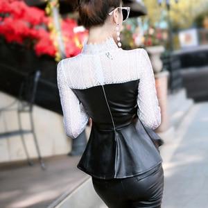Рубашка женская, с длинным рукавом, кружевная, из искусственной кожи, с сеточкой, 2019