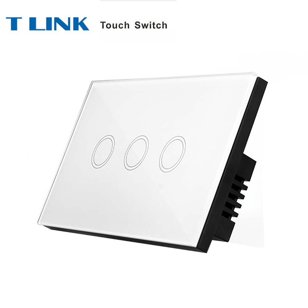 TLINK US Standard 3 gang 1 way Wall Finger Touch Switch White Crystal Glass Panel us standard smart home touch switch 1 gang 1 way white crystal glass panel light switch wall switch