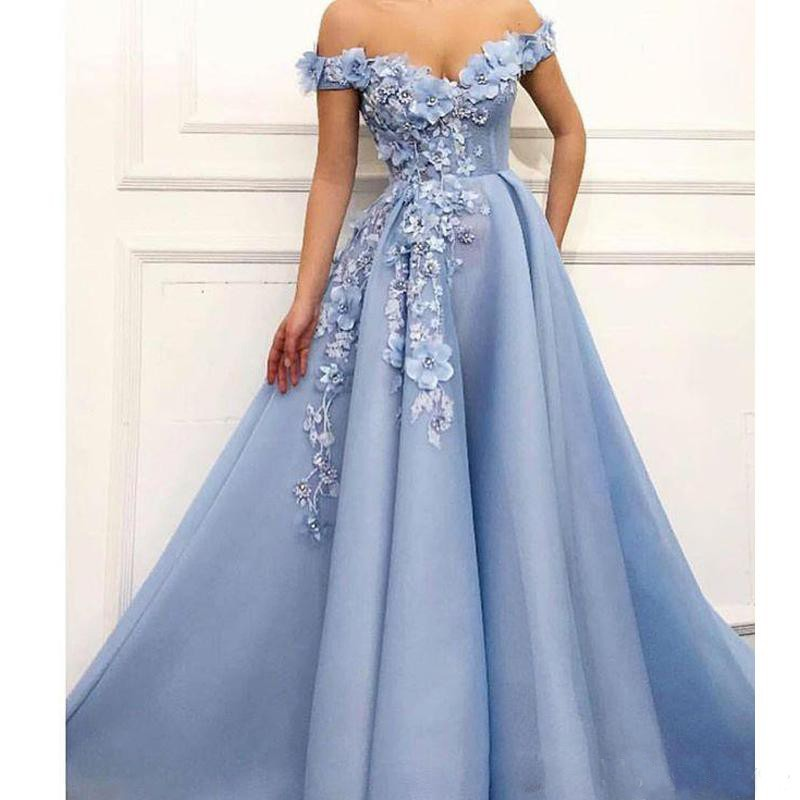 Designer Blue Off the Shoulder   Prom     Dresses   3D Flower Beading Abendkleider Evening Gowns Draped Long   Prom     Dress   2019