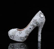 2016 Gorgeous White Rhinestone Bridal Shoes Pearl High heels  Slipper shoes Lady High Heel Women Dress Shoes Beauterful Shoes