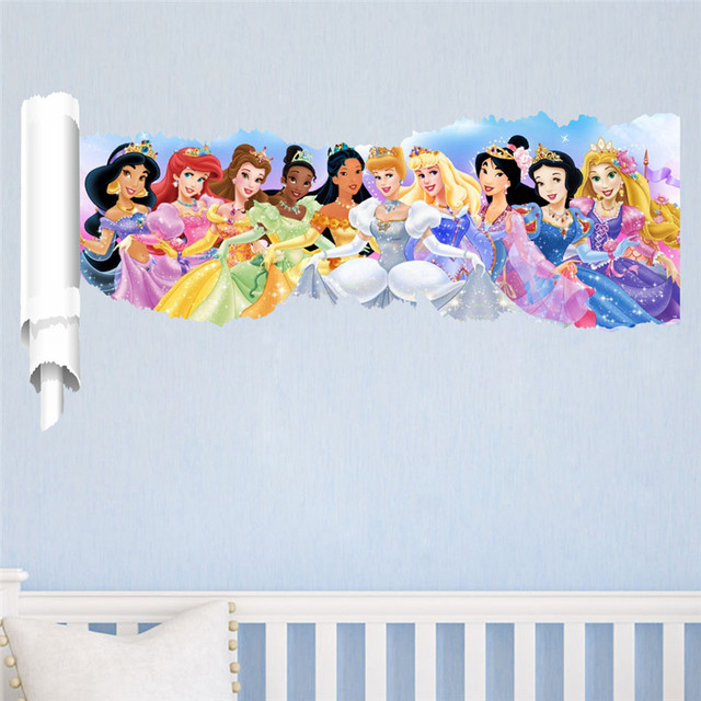Cartoon Princess Wall Stickers For Kids Rooms Children Wall Decals Snow  Girl 3d Children Bedroom Decor