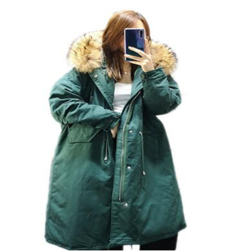 Long Parka Women 2018 New Winter Raccoon Fur Collar Hooded Duck   Down   Jacket Winter Women Loose Duck   Down     Coat   Jacket