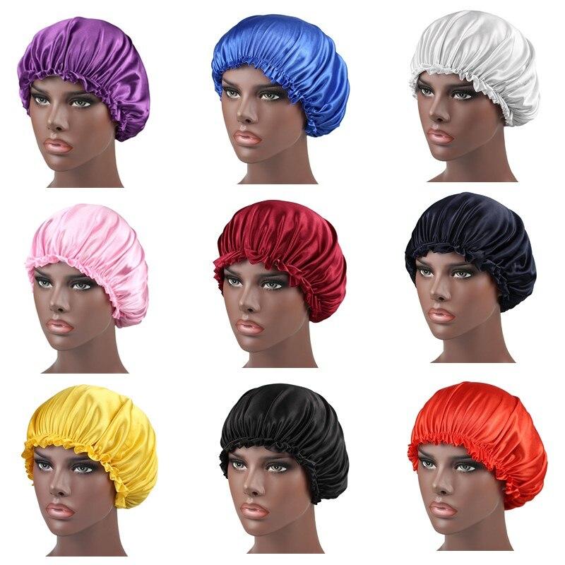 Unisex Women Silky Bonnet   Beanie   Hat Soft Stretchy Band Turban Hat Hair Cover Silk Sleeping Cap