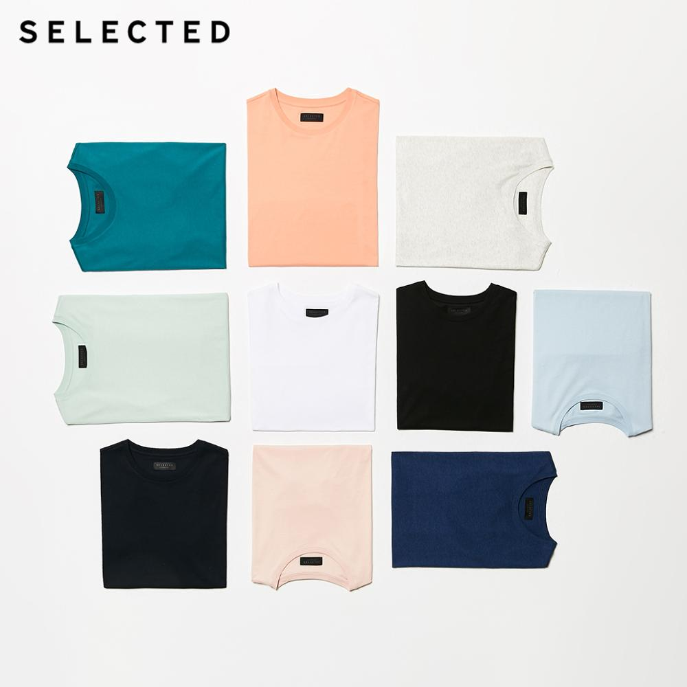 SELECTED Men's Summer 100% Cotton Pure Color Round Neckline Short-sleeved T-shirt S