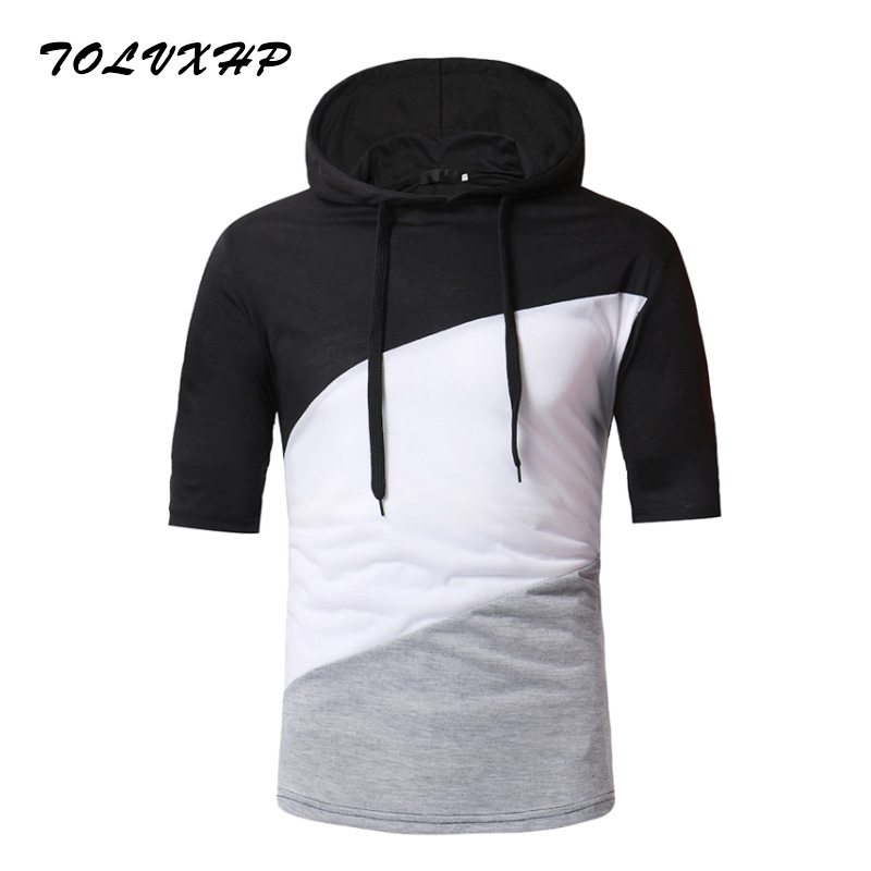 2018 Summer New Fashion Brand Clothing Tshirt Men Splice Slim Fit Short Sleeve T Shirt Men Standing collar Casual T-Shirts
