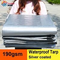 Tewango Silver Coated Waterproof Tarp Heavy Duty Outdoor Rain Block Sun Shade Sail Camping Cover For Car Balcony 190GSM