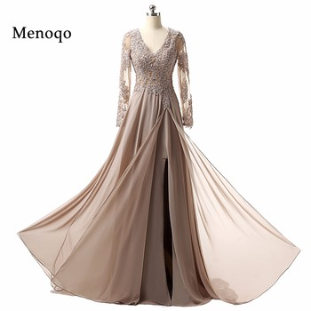2020 Real Mother Of The Bride Dresses Hot Sale Charming V neck A line Long sleeve Chiffon Applique Formal Evening Dresses Gowns