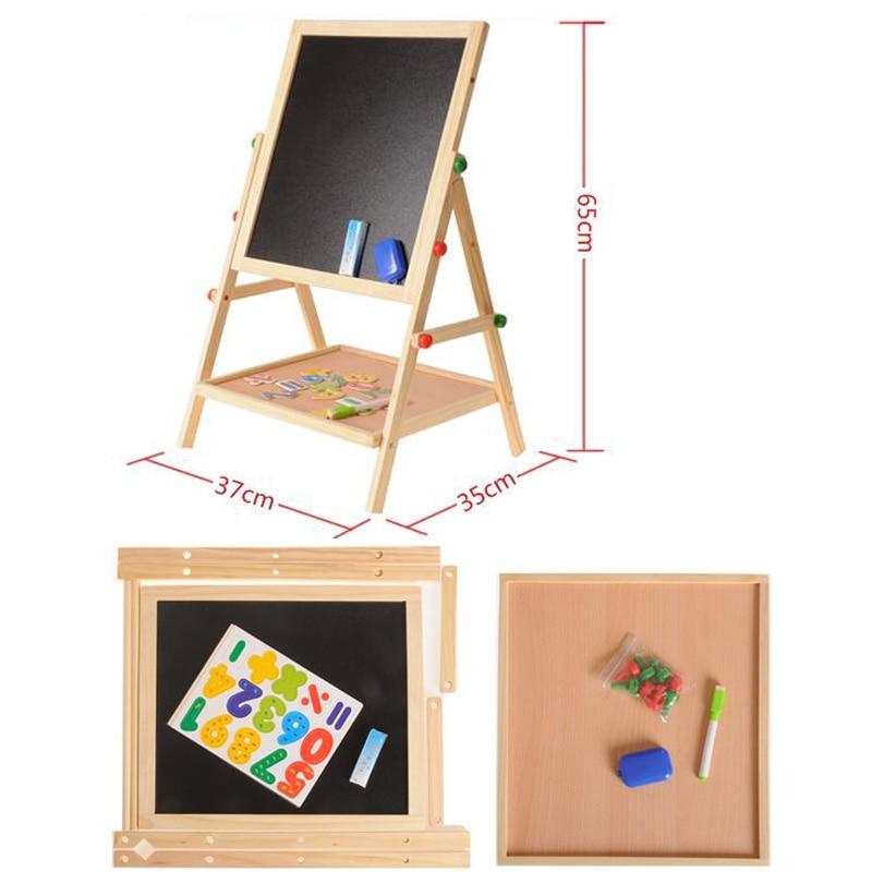 Neue doppelseitige magnetische holz kann angehoben Multi funktionale kinder zeichnung bord mit fach bracket zeichnung bord spielzeug