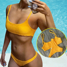 Women Bikini Bandeau Push Up Sexy Swimsuit Solid Color