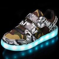 MLUCKY 2017 Automne Enfants Lumineux Sneakers Armée Vert USB Charge Chaussures pour Garçons LED Lumière Chaussures Enfants Sport Sneakers