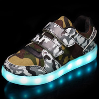 MLUCKY 2017 Autumn Children Glowing Sneakers Army Green USB Charging Shoes For Boys LED Light Shoes