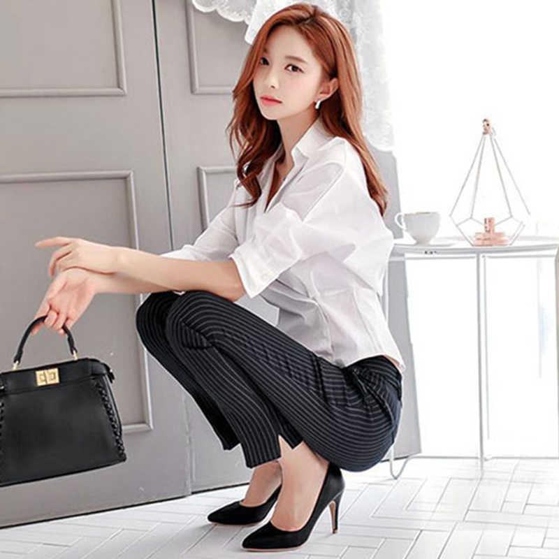 2019 المرأة الصلبة الأبيض الربيع الصيف غير المتكافئة مكتب سيدة بلوزة قطن قميص سيدة أعلى