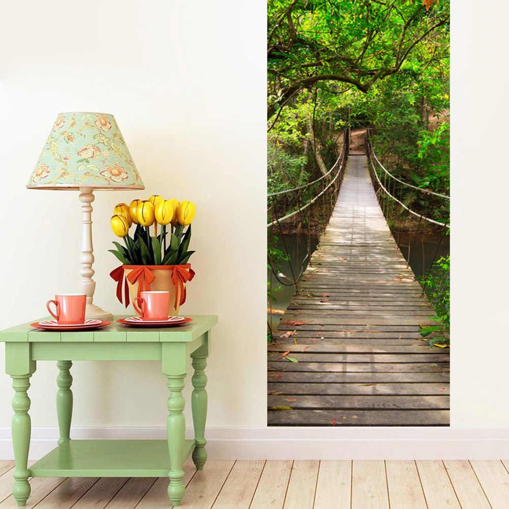 2 סלון מיטת יח'\סט שער דלת מדבקה דביק עמיד למים 3D גשר עץ חידוש דלתות דלת מדבקות בית דקור