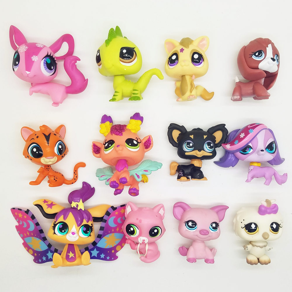 12pcs Original LPS cute toys little cat fish rabbit Dog fairy Lovely Pet shop animal action figure littlest doll 20pcs bag little pet shop toys littlest cartoon animal cute cat dog loose action figures collection kids girl toys gift