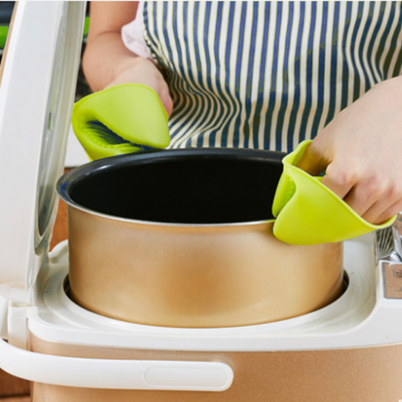 1Pc Kitchen Cooking Oven Mitts Glove Heat Resistant Silicone Cake Bakeware  Gloves Short Finger Hand Clip Convenient Pot Holder