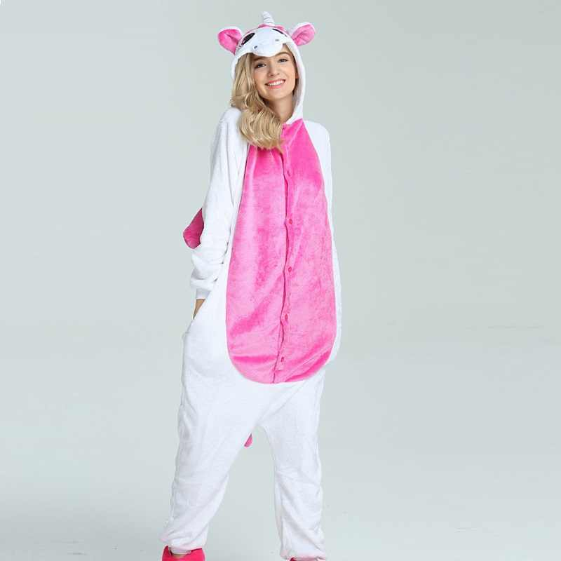 кигуруми единорог зима мультфильм единорог пижама закрытый женщины для  взрослых животное задавать пара наборы кигуруми теплая b803b32b57d46