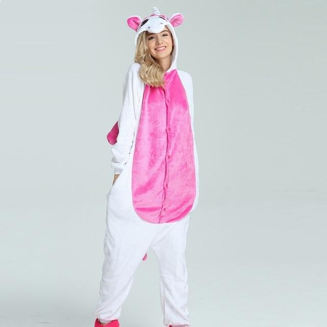 351678587 invierno dibujos animados unicornio pijama largo manga encapuchado mujer  adulto animal onesie conjunto onsie pareja conjuntos