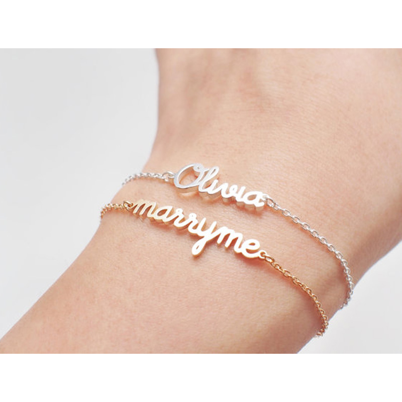 Charm Personalized Name Bracelet Women Custom Any Name Bracelet Girlfriend Custom Birthday Gift Customize Font Style Jewelry